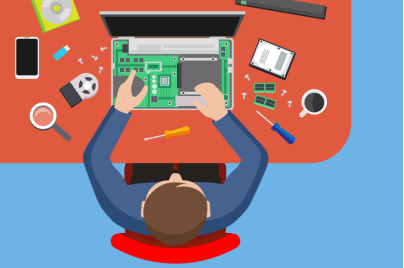 社内ヘルプデスクでパソコンの修理を担当している男性