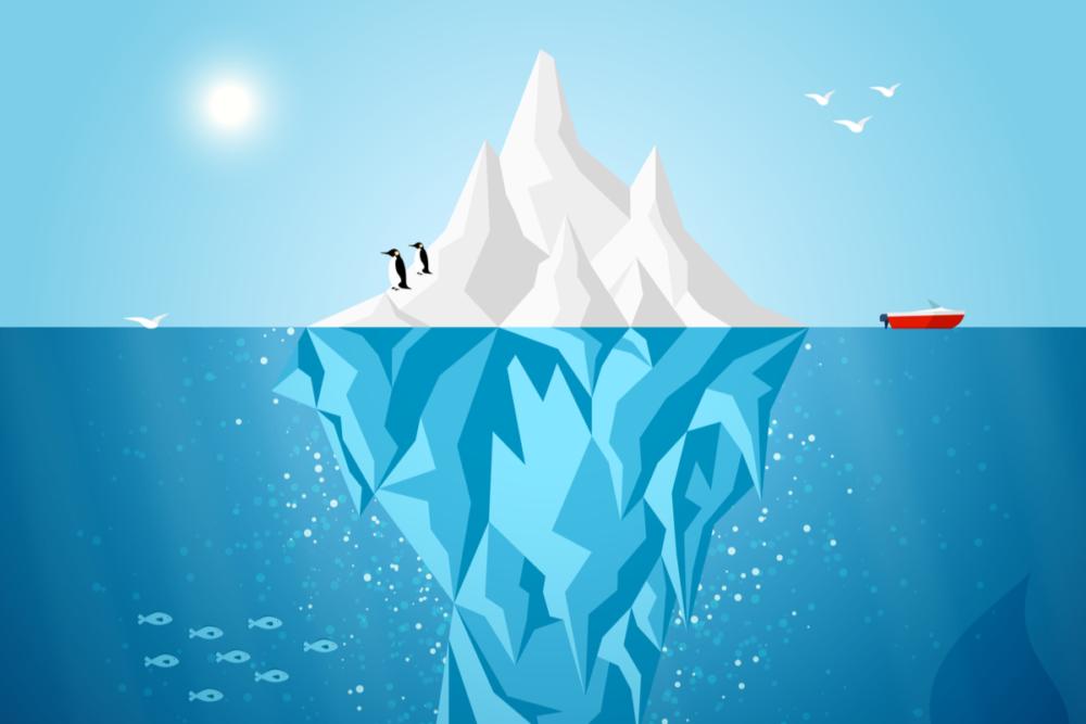 ハインリッヒの法則を氷河で表した画像